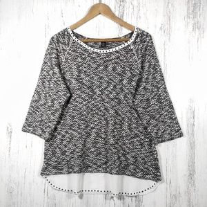 Style & Co. black and white oversized knit sweater